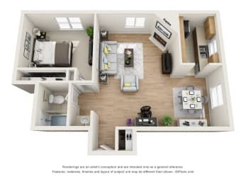 1 Bed 1 Bath C Floor Plan at La Vista Terrace, California