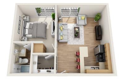One Bedroom A Floor Plan at Park Merridy, Northridge, California