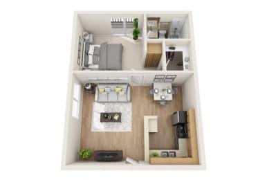 One Bedroom B Floor Plan at Park Merridy, Northridge