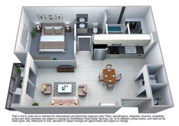 Elizabeth 1 Bedroom 1 Bath Floorplan at Cycle Apartments, Ft. Collins,Colorado