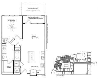 Polk Floor Plan at Berkshire Chapel Hill, North Carolina, 27514