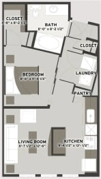 Floor Plan  Studio Floor Plan at Residences at The Streets of St. Charles, Missouri