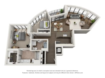 2 Bed 2 Bath Plan2F Floor Plan at The Madison at Racine, Chicago, 60607
