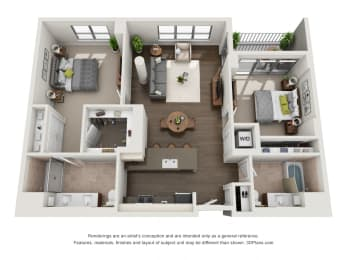 2 Bed 2 Bath Plan2E Floor Plan at The Madison at Racine, Chicago