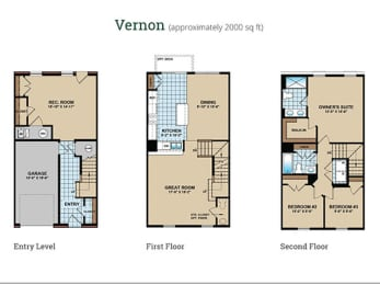 3 Bed 2.5 Bath Floor Plan at Townes at Pine Orchard, Ellicott City, Maryland