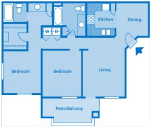 Estancia 2B Two Bedroom Floor Plan