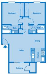 Sycamore Creek 2 Bedroom Floor Plan 900 Square Feet