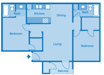 Sycamore Creek 2 Bedroom Split Floor Plan