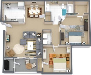 Floor Plan 2 Bd 1 Bth