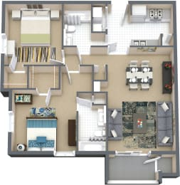 Floor Plan 2 Bd 2 Bth