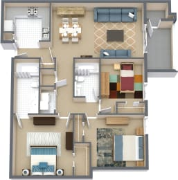 Floor Plan 3 Bd 2 Bth