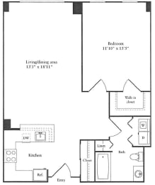 Floor Plan of 1 bedroom spacious apartment for rent in Cambridge MA