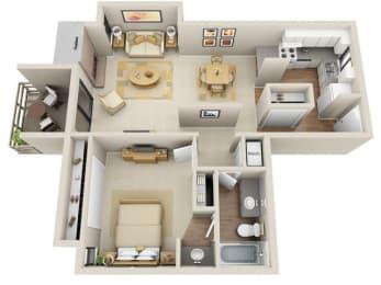 Floor Plan 1 Bed 1 Bath
