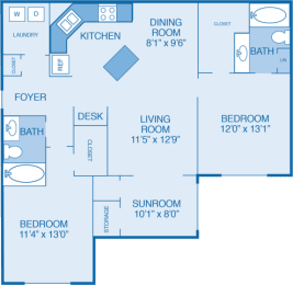 Brookstone Floor Plan at Walden Legacy Apartments, Knoxville, TN