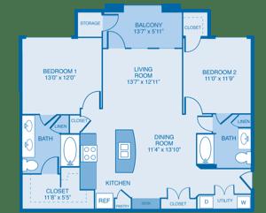 Milan Floor Plan at Summercrest Apartments, Burleson, TX