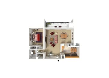 Horizon Square 1 BR 1 BA 864 Sqft. Model Floor Plan