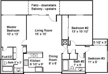 Floor Plan Three Bedroom Two Bath