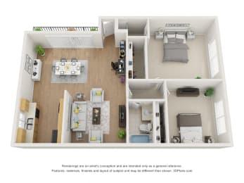 Floor Plan C at Superior Place, Northridge, California