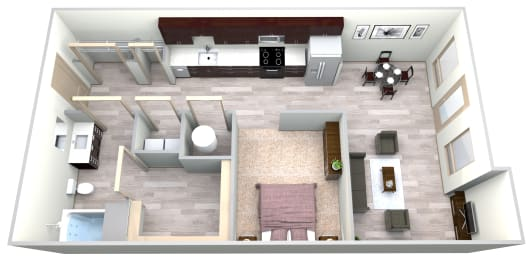 Sapphire Floor Plan at Azure Houston Apartments, Texas, 77007