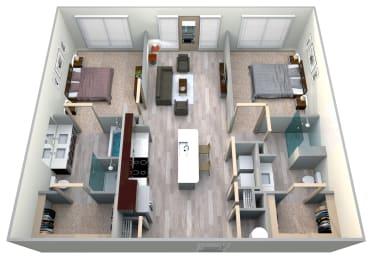 Midnight Floor Plan at Azure Houston Apartments, Houston, Texas