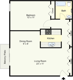Floor Plan ARCADIA – ONE BEDROOM ONE BATH