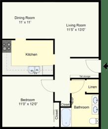Floor Plan AUSTIN – ONE BEDROOM ONE BATH