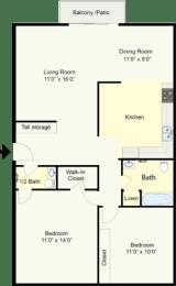 Floor Plan BRYANT - 2 BEDROOM 1.5 BATH