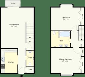 Floor Plan MERIDIAN - TWO BEDROOM TOWNHOUSE