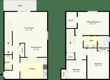 Floor Plan RICHMOND - THREE BEDROOM TOWNHOUSE