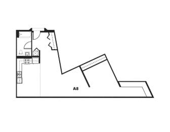 A8 Floor Plan at One Santa Fe Residential, Los Angeles, 90012