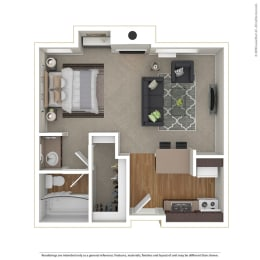Studio 0 Bed 1 Bath Floor Plan at Cornerstone Apartments, Canoga Park, 91304