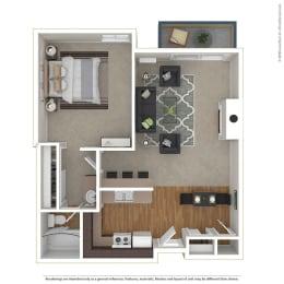 1BR/1BA 1 Bed 1 Bath Floor Plan at Cornerstone Apartments, Canoga Park
