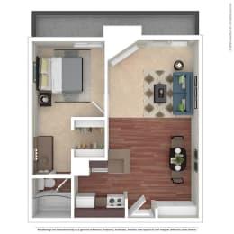 1BR/1BA A 1 Bed 1 Bath Floor Plan at Chatsworth Pointe, Canoga Park