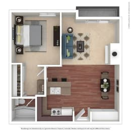 1BR/1BA B 1 Bed 1 Bath Floor Plan at Chatsworth Pointe, California