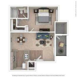 1BR/1BA A Floor Plan at Independence Plaza, Canoga Park