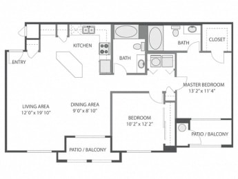 Brookside – 2 Bedroom 2 Bath Floor Plan Layout – 1066 Square Feet