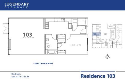 Floor Plan 103 in Legendary Glendale Luxury Apartment Community, 91203