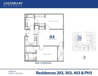 Legendary Glendale Floor Plan 03 in Glendale, CA, 300 N Central Ave