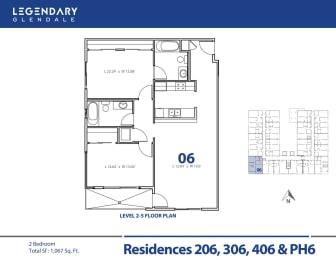 Legendary Glendale Floor Plan 06, Luxury Apartments in Glendale, 91203
