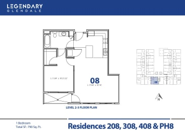 Floor Plan 08 at Legendary Glendale Luxury Apartments, at 300 N Central Ave