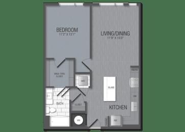 M.1B3 Floor Plan at TENmflats, Columbia