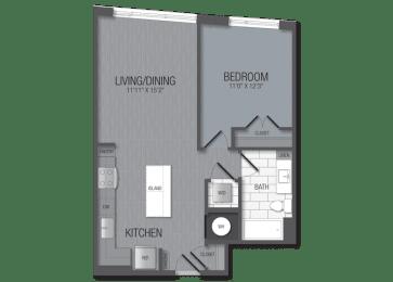 M.1C2 Floor Plan at TENmflats, Columbia, Maryland