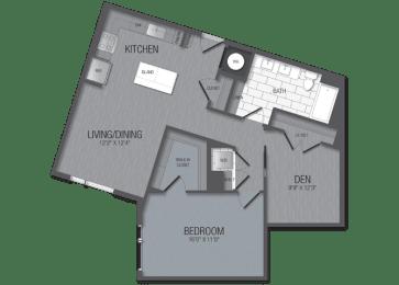 M.1D4A/den Floor Plan at TENmflats, Columbia, Maryland