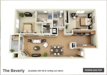The Beverly 2 Bedroom 2 Bath 3D Floor Plan at The Verandas, Canoga Park, California
