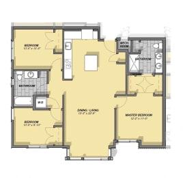 3 Bedroom 2 Bathroom Floor Plan at Park77, Massachusetts, 02138