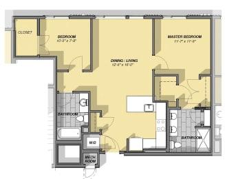 2 Bedroom 2 Bathroom Floor Plan at Park77, Cambridge