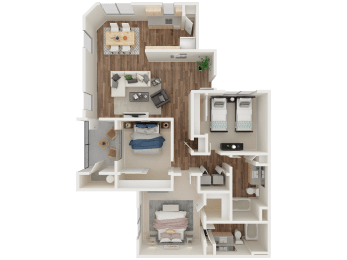 PINNACLE AT GALLERIA | Apartments | Floorplan | Shasta 3x2