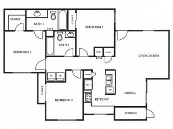 Floorplan at The Colony Apartments, Casa Grande, Arizona