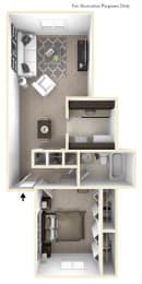 1-Bed/1-Bath, Mahonia Floor Plan at The Springs Apartment Homes, Michigan, 48377