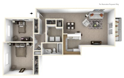 2-Bed/1-Bath, Petunia Floor Plan at The Springs Apartment Homes, Michigan, 48377